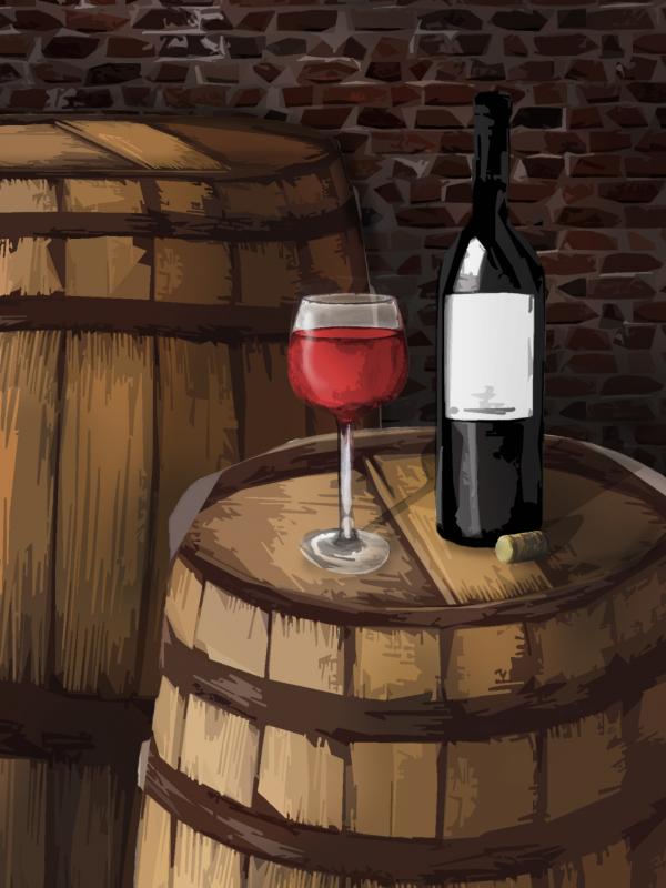 Sudové víno – ČERNÝ RYBÍZ, polosladké – Malovaný sklep