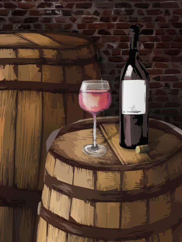 Sudové víno – JAHODOVÉ, polosladké – Malovaný sklep