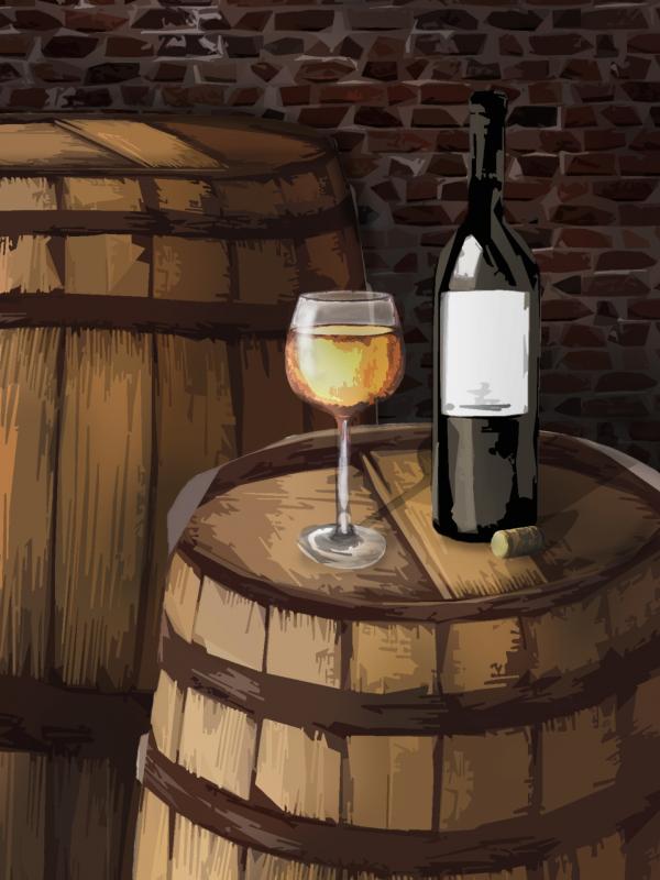 Sudové víno – HRUŠKOVÉ, polosladké – Malovaný sklep